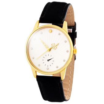 Harga Geneva B156 Sun Rays Leather Strap Watch (Black)