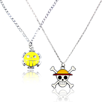 ANIME ZONE One Piece Anime Straw Hat Pirates x Pirates of Heart Alliance Fashionable Friendship Pendant Necklace (Silver) Price Philippines