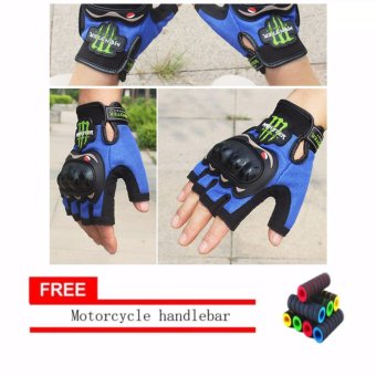 Harga lazada and USA best selling colour BLUE Fingerless Motorcycle Gloves Half Finger Guantes Motorcross Bicycle Riding Racing Cycling Sport Gears Breathable Luvas (Black) With Motorcycle handlebar sleeve