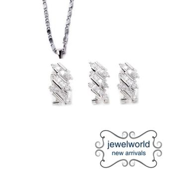 Jewelworld Zig Zag Bangkok Cubic Zircon Jewellery Set (silver) Price Philippines