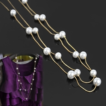 Ladies Nice Jewelry Pearl Double Layer Long Necklace (Multicolor) Price Philippines