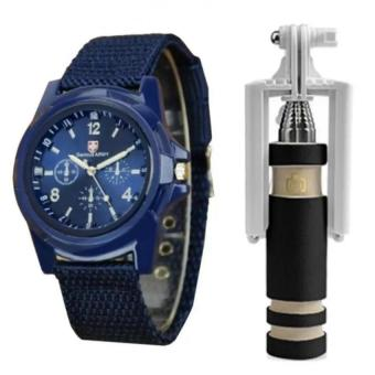 Harga GEMIUS ARMY Military Sport Style Army Men's Blue Canvas Strap Watch and with E-703 Mini Foldable Monopod