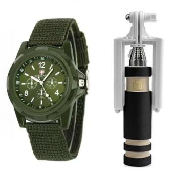 Harga GEMIUS ARMY Military Sport Style Army Men's Green Canvas Strap Watch and with E-703 Mini Foldable Monopod