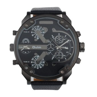 Harga Luxury Military Army Dual Time Quartz Large Dial Wrist Watch Oulm Black