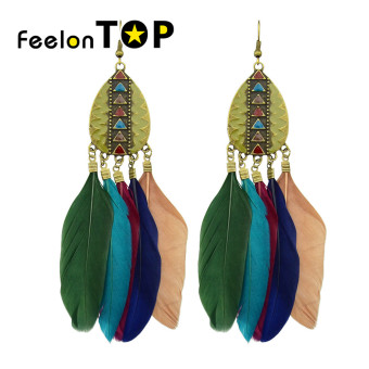 Harga Feelontop New Tibetan Design Colorful Feather Chandelier Earrings(colorful) - Intl