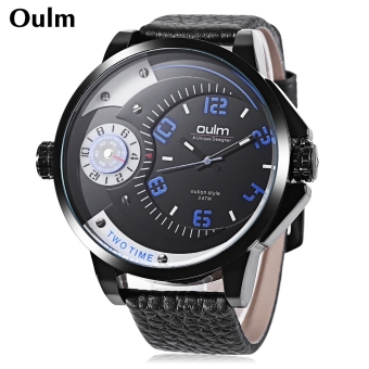 Harga Oulm Men Quartz Watch Dual Time Zones Display 3ATM Genuine Leather Band Wristwatch