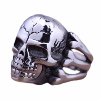 Harga Fancyqube Vintage Europe Silver Plated Simulated Skull Rings Party King Men Ring Rock Punk Horrible Rings Silver-8 - intl