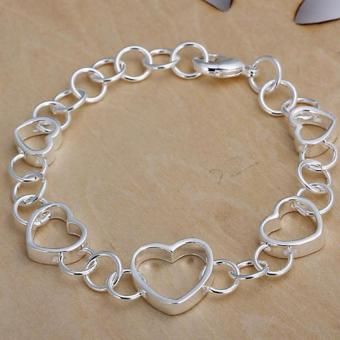 Amart Sterling Silver Charm Five Square Hollow Heart Chain Bracelet(Sliver) Price Philippines