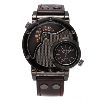 Harga OULM Men's Military Dual Time Leather Band Quartz Wrist Watch (Coffee)