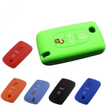 Harga Three Buttons Remote vKey Fob Case Silicone Cover fit for CITROEN C2 C3 C4 C5 C6 Picasso (Green)