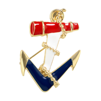 Harga Feelontop 2016 Newest Jewelry Sea Wind Gold Color with Red Blue White Enamel Anchor Brooches for Fashion Lady - Intl