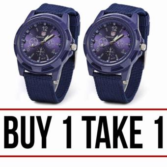 Harga GEMIUS ARMY Military Sport Style Army Men's Blue Canvas Strap Watch BUY 1 TAKE 1