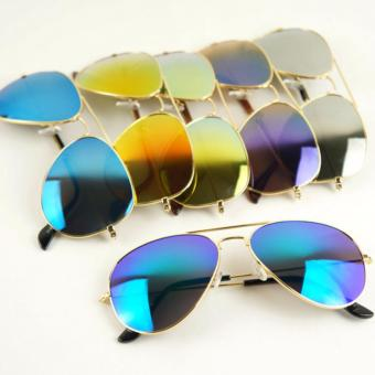 Harga Sun Glasses with Sun rays Eye Protective with mirror effects color Yellow Gold with sun glasses pouch