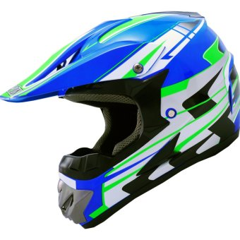 Harga LEVIN Offroad Motocross J2000 Force Motorcycle Helmet (Blue/Neon Green)