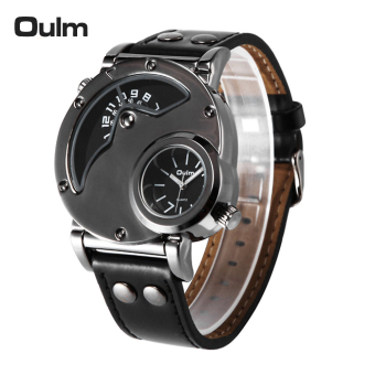 Harga Oulm Brand Fashion Cool Dual Time Display Men Quartz Watch High-quality PU Leather Man's Casual Wristwatch 3ATM Water-resistant - intl