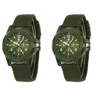 Harga GEMIUS ARMY Military Sport Style Army Men's Canvas Strap Watch (Green) Set of 2