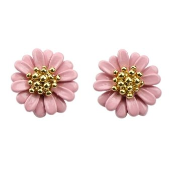 Harga Best Seller Cheap Pink Purple Enamel Small Daisy Stud Earrings (Intl)