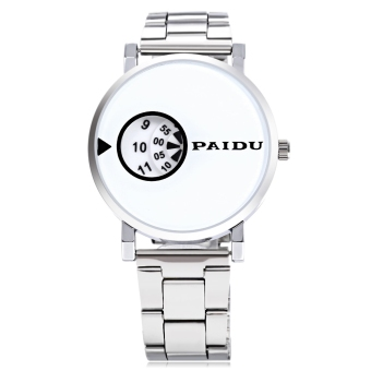 Paidu 58967 Male Quartz Watch Alloy Strap Chic Dial Rotatable Scale Wristwatch (White) Price Philippines