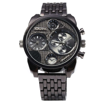 Harga Oulm Stylish Waterproof Men Watch Analog with Double - movt Round Dial Steel Watch Band (Black)
