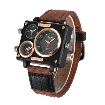 Harga OULM Sailcloth Strap Men Watches Movt Three Time Zone Watch Men's Casual Quartz Wristwatch, Coffee - Intl