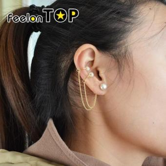 Harga Feelontop Fashion Gold Color Imiation Pearl Long Chain Ear Cuff Earrings - intl