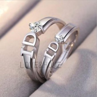 Harga LOVE&HOME Silver Classic Letter D Lover Couple Ring