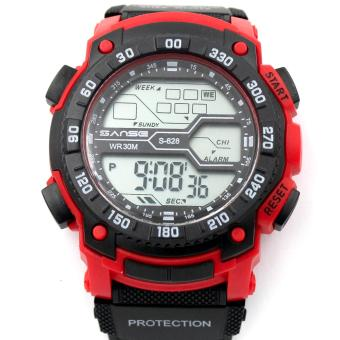 Harga Sanse Water Resistant Uni-sex Watch TPU resin Strap-628 BLACK/RED