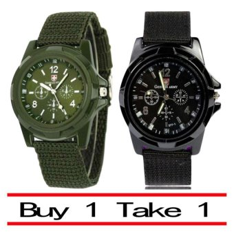 Harga GEMIUS ARMY Military Sport Style Army Men's Green/Black Canvas Strap Watch
