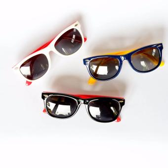 Atlas Apparel New York Bundle of 3 (Three) Kids Unisex Round Wayfarer Style Sunglasses (Blue/Yellow), (Black/Red), & (White/Red) Price Philippines