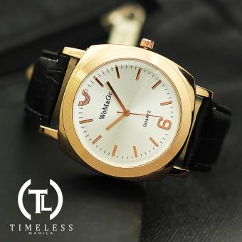 Harga Womage Sara Gold Leather Watch (White Face)