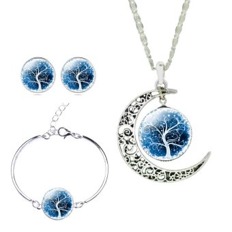 Harga Jiayiqi The Tree Of Life Time Gem Pendant Necklace Bracelet Earrings Jewelry Sets (Dark Blue)