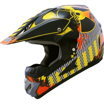Harga LEVIN Offroad Motocross J2000 Hazard Motorcycle Helmet (Black/Yellow/Orange)