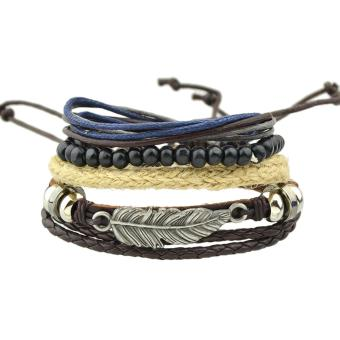 Harga Feelontop Bohemian Style Multilayers Pu Leather Beads Adjustable Wrap Bracelets - intl