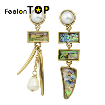 Harga Feelontop Fashion Colorful Rhinestone Imitation Pearl Long Drop Earrings - Intl