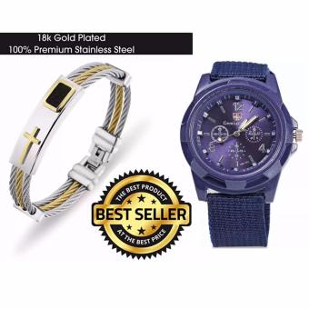Harga Cross Jesus Premium Stainless Steel Bracelet with GEMIUS ARMY Military Sport Style Army Men's Canvas Strap Watch (Blue)