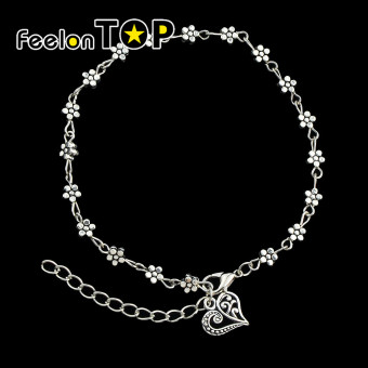 Harga Feelontop Beach Style Silver Color Metal Flower Charms Anklets for Women - Intl