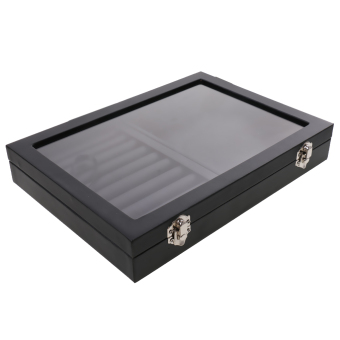 Harga MagiDeal Black Leather Jewelry Retail Display Box Organizer