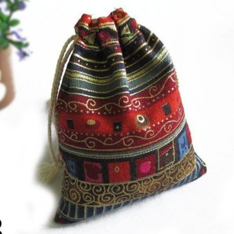 3Pcs Linen Bunt Tribal Tribe Drawstring Jewellery Gift Bags Pouches Wine Red - intl Price Philippines