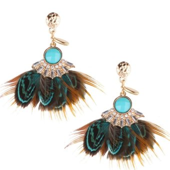 Harga Fashion National Feather Earrings Stud Blue - intl