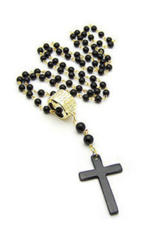 Fang Fang Cross Pendant Black Rosary Beads Necklace Chain (Black) Price Philippines