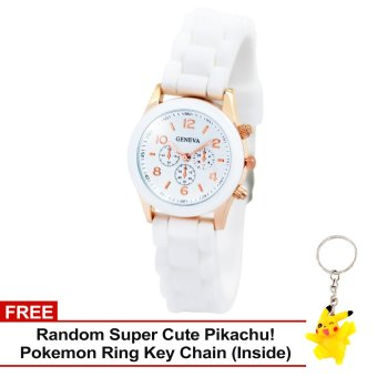 Harga Geneva Little Nikka Women's Silicon Strap Watch (White) with Free Super Cute Pikachu Key Chain