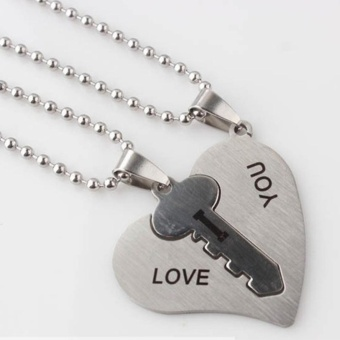 Harga Men Women Lover Couple Necklace I Love You Heart Shape Pendant Stainless Steel Jewelry - intl