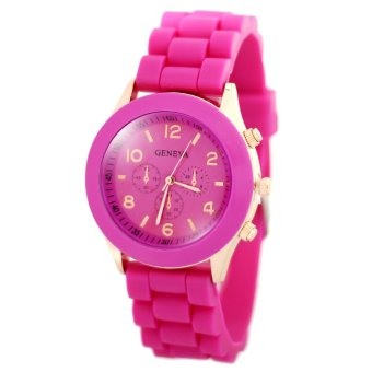 Harga Geneva Nikka Women's Silicon Strap Watch (Hot Pink)