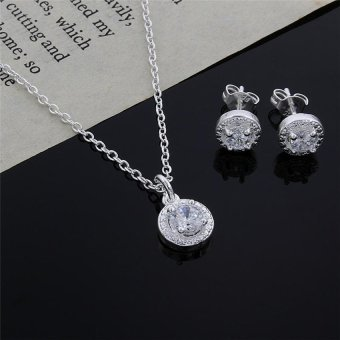 Cocotina Women New Cute Nice Silver Crystal Wedding Necklace Earring Jewelry Set Charm Price Philippines