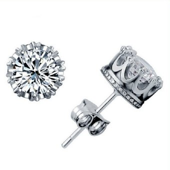 Sliver Plated Jewelry 8MM Round Cubic Zirconia Silver Stud Earring Silver - intl Price Philippines