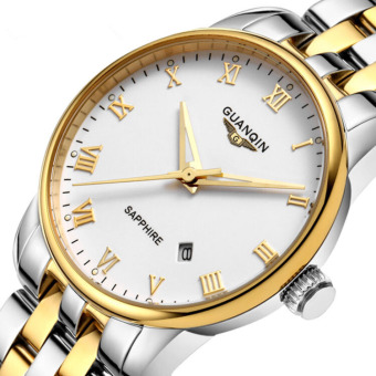 Harga telimei Crown Qin (GUANQIN) quartz watch waterproof luminous dial large fine steel watch Vintage business Mens Watch GQ11015 white shell flour (White)