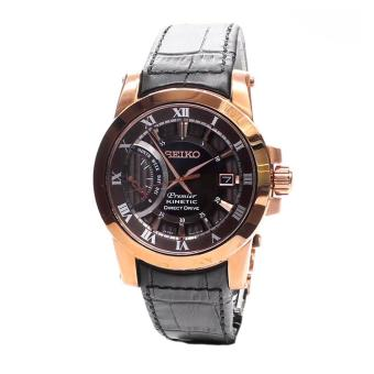 Harga Seiko Watch Premier Kinetic Direct Drive Black Stainless-Steel Case Leather Strap Mens Japan NWT + Warranty SRG016P1