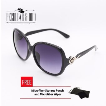 Harga Oversized Sunglasses with Metallic Floral Concept-Black