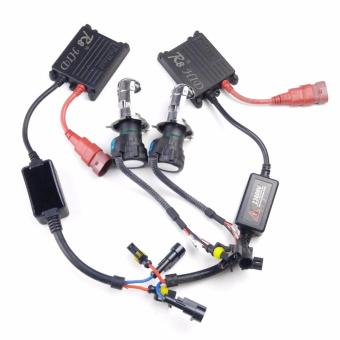 Harga R8 H4 H/L Car 35W 6000K HID Xenon Bulbs Light with Ballasts Wire Harnes Kit