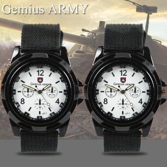 Harga GEMIUS ARMY Military Sport Style Army Canvas Strap Watch (White) Set of 2